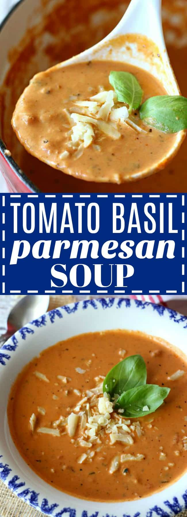 Warm up with a bowl of this quick and easy Creamy Tomato Basil Soup. Made with diced tomatoes, cream, fresh basil, parmesan, and a surprise ingredient!