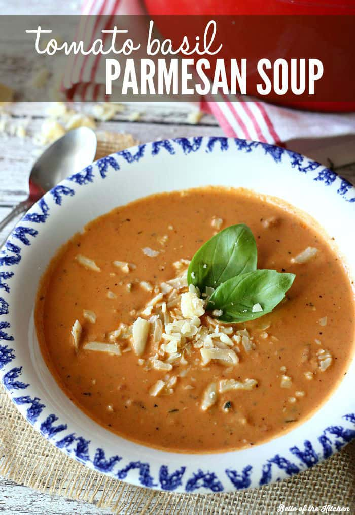 Creamy Tomato Basil Parmesan Soup - made with diced tomatoes, cream, fresh basil, parmesan, and a surprise ingredient!