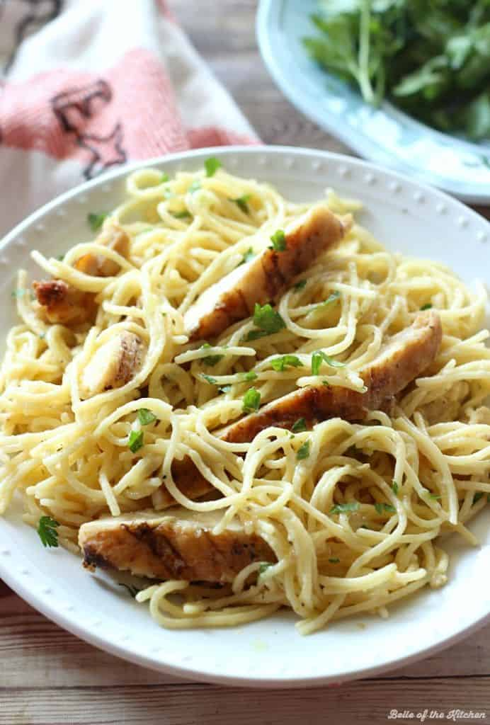 Ad One Pot Cheesy Garlic Chicken Spaghetti Belle Of The Kitchen