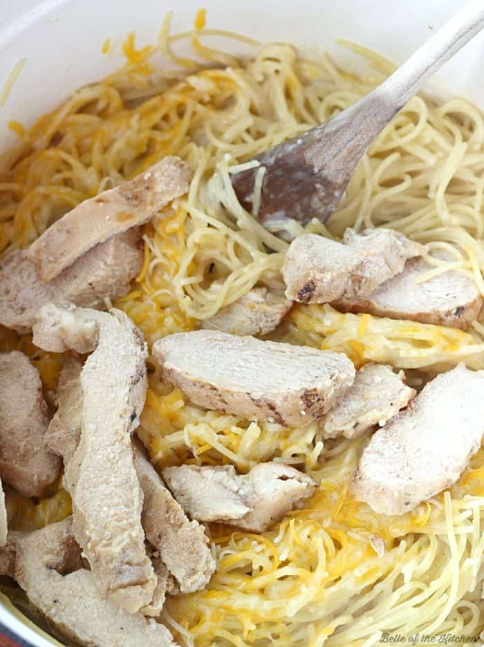 Tender pasta and juicy grilled chicken is mixed with a cheesy sauce to make this Cheesy Garlic Chicken Spaghetti.