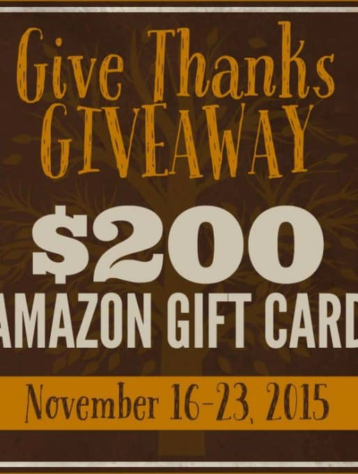 Give Thanks Giveaway  {$200 Amazon Gift Card!}