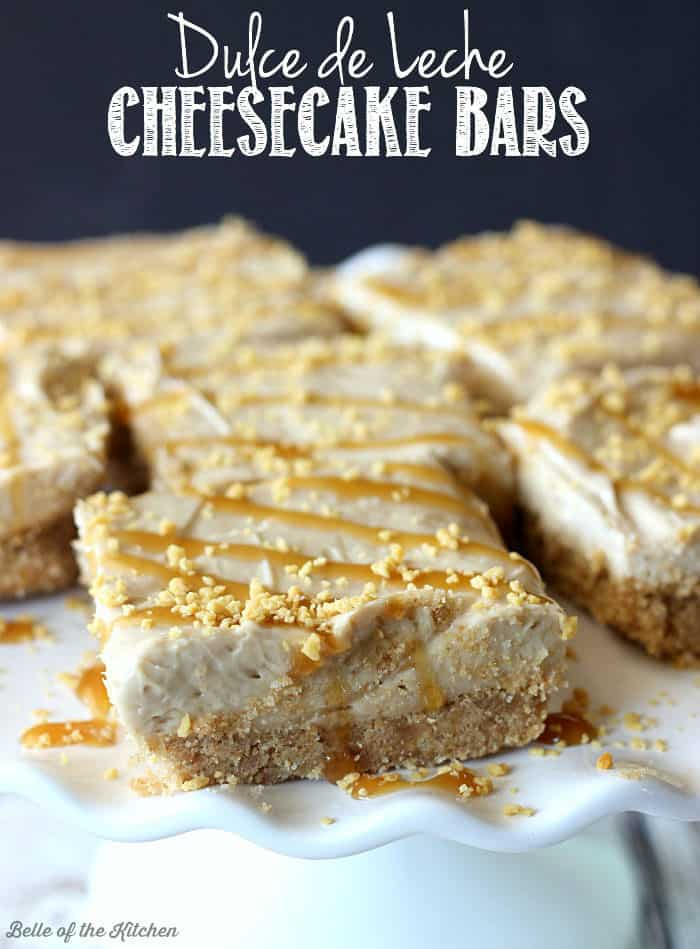These no bake Dulce de Leche Cheesecake Bars are so simple and easy to make! With a homemade graham cracker crust and creamy filling, these won't last long!