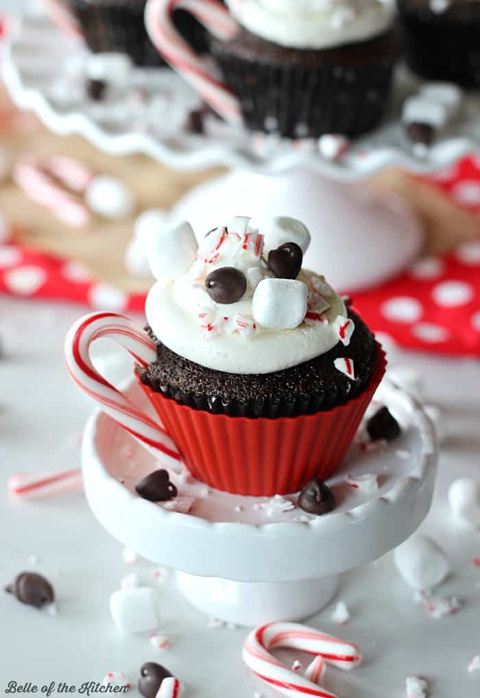 a cupcake with marshmallow frosting, chocolate chips, and a peppermint candy cane handle