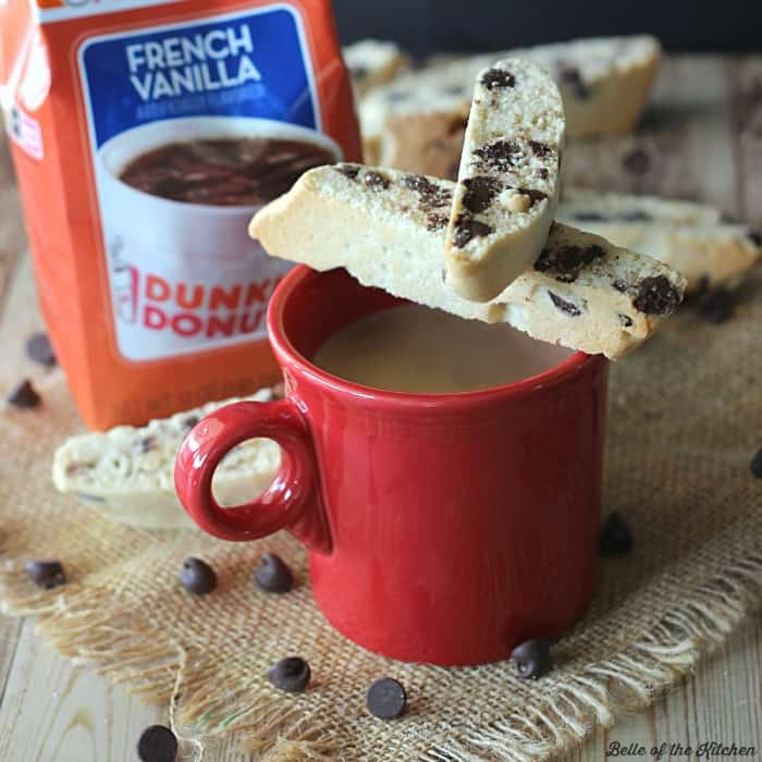 Need an easy gift idea? Wrap up some homemade Chocolate Chip Biscotti with a bag of Dunkin' Donuts coffee! It's the perfect gift for just about anyone!