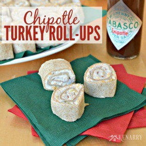 turkey rollups on a green and red napkin