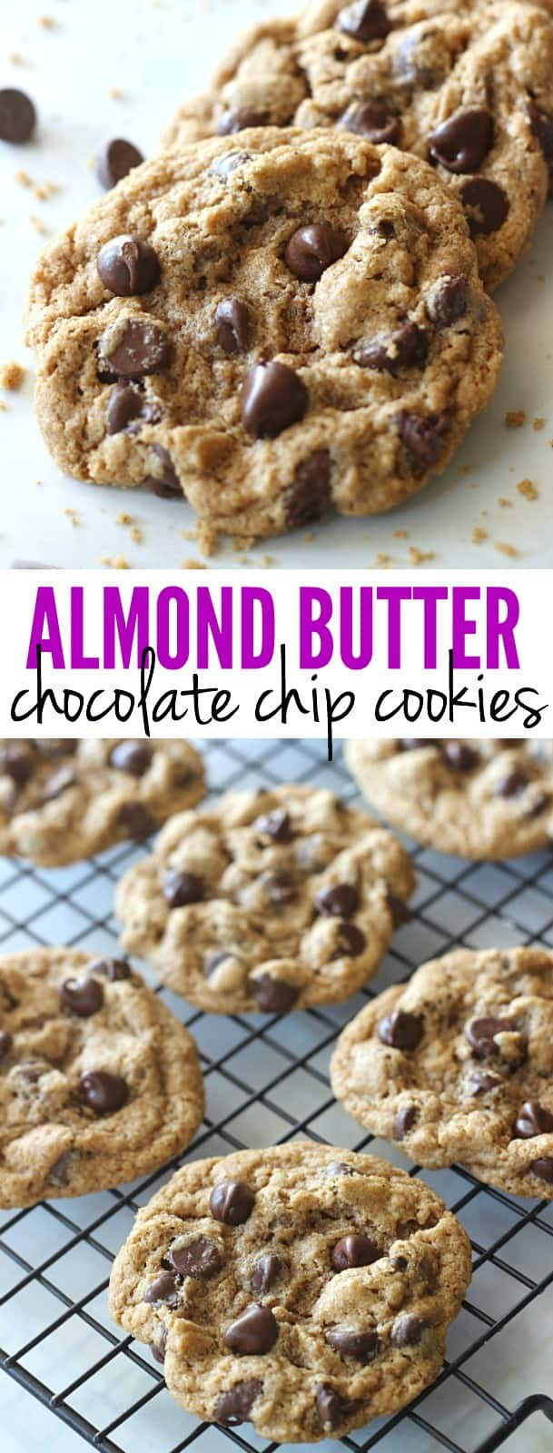 These Almond Butter Chocolate Chip Cookies are made with no flour, oil, or butter. They are perfectly chewy, full of chocolate, and downright addicting!