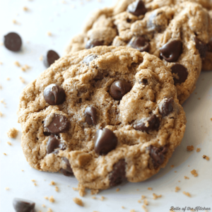 A close up of chocolate chip cookies