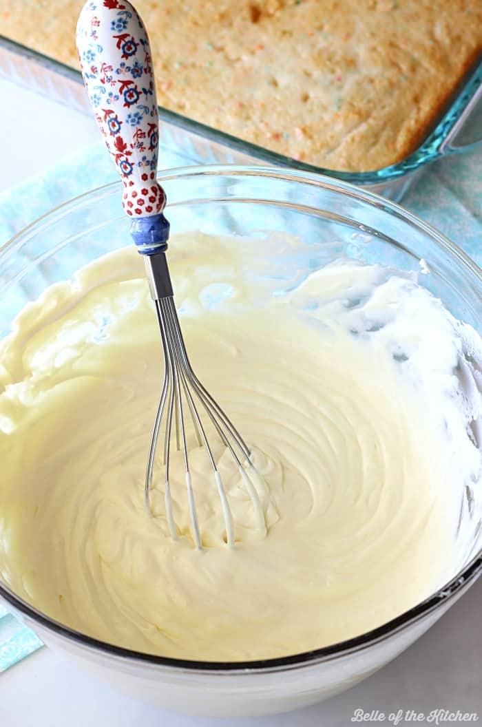 a bowl of cake batter
