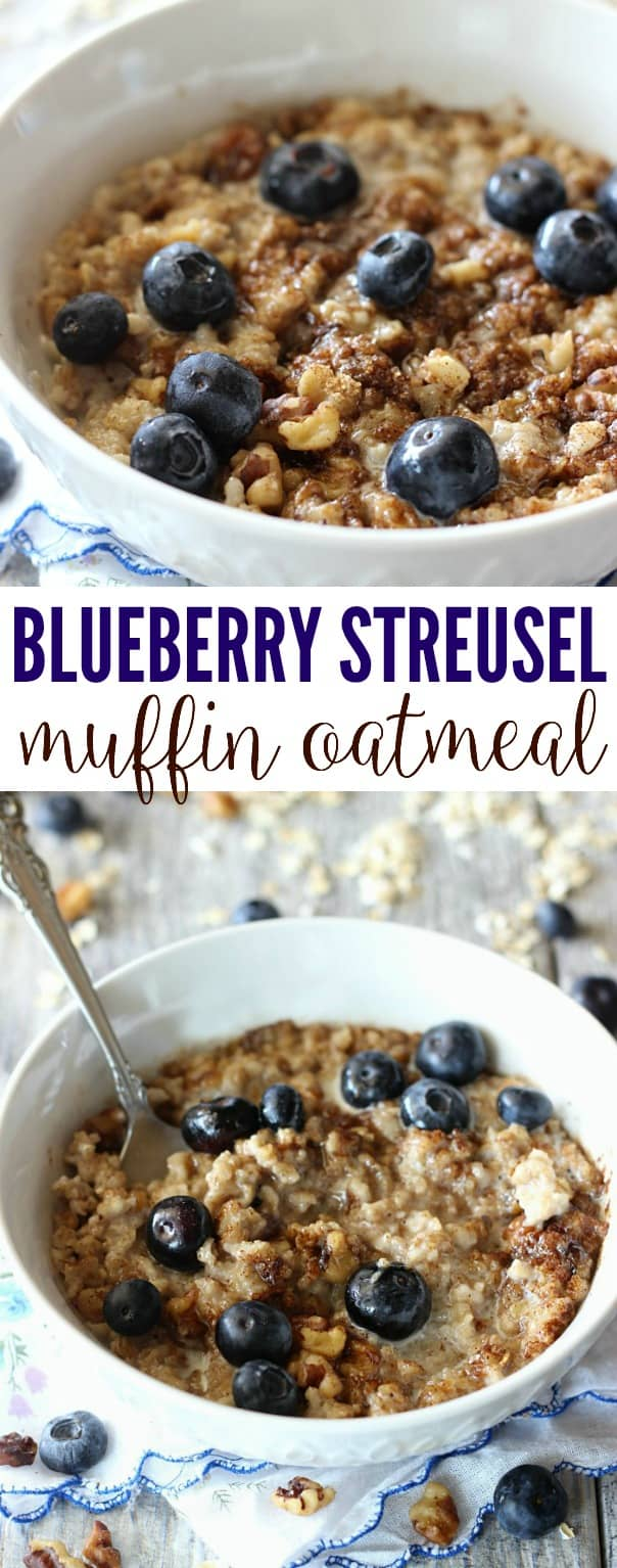 This Blueberry Muffin Oatmeal tastes just like a blueberry muffin! It's sprinkled with a streusel-nut topping, then loaded with juicy fresh blueberries.