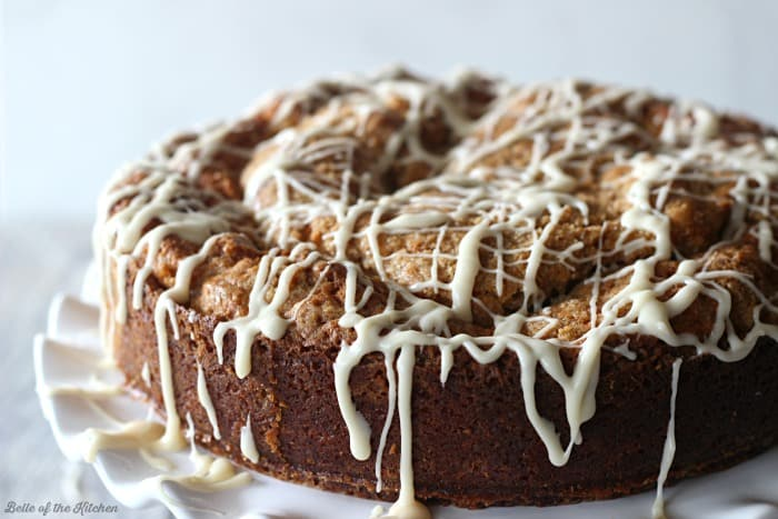 A coffee cake with vanilla drizzle