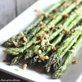 This is my favorite way to eat asparagus! Roasted with garlic and topped with parmesan cheese!