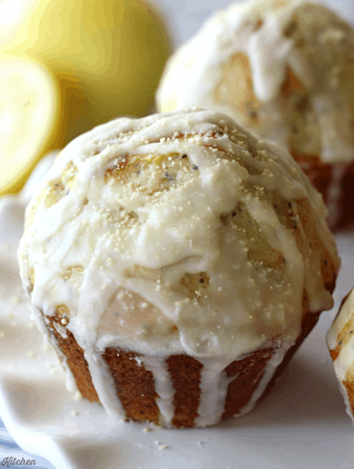 Glazed Lemon Poppy Seed Muffins with Honey Granules