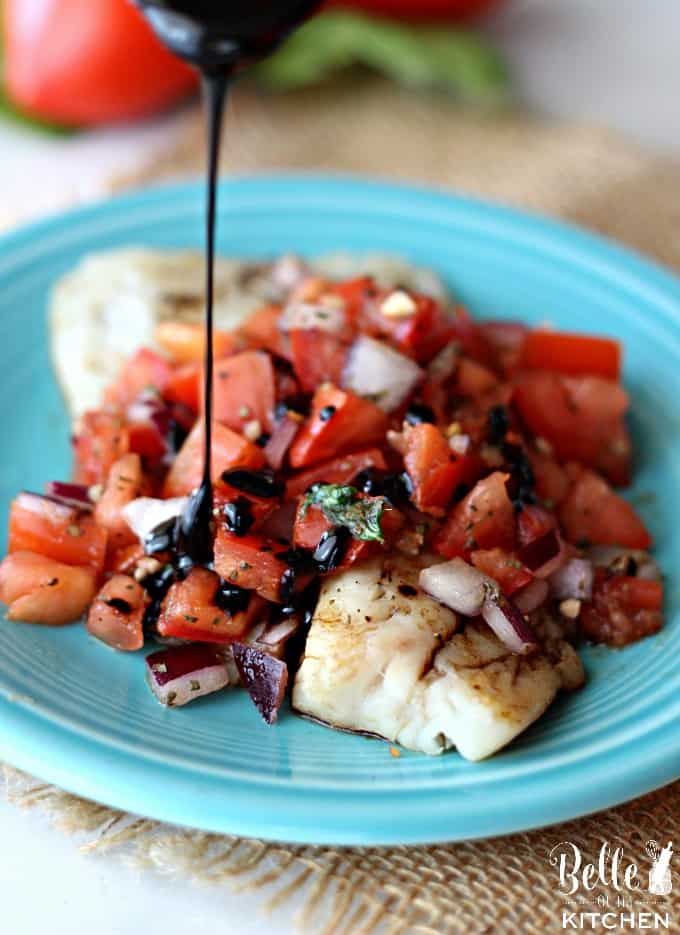 Get a healthy dinner on the table in a flash with this Bruschetta Tilapia! The tilapia is oven roasted then topped with bruschetta and a balsamic glaze!