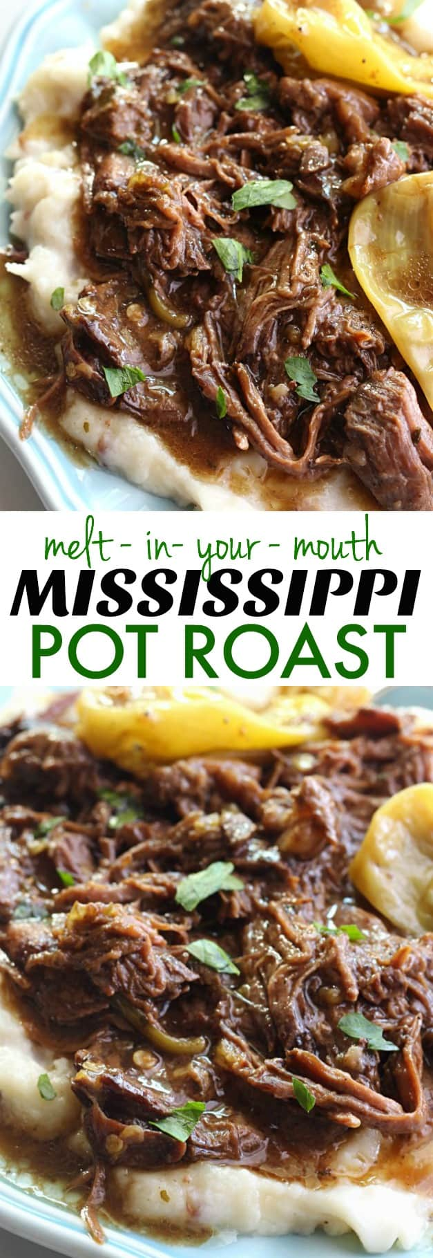 Mississippi Pot Roast - The most delicious pot roast you will EVER eat! Made with just five simple ingredients and slow cooked in the crockpot, you are going to fall in love with this!