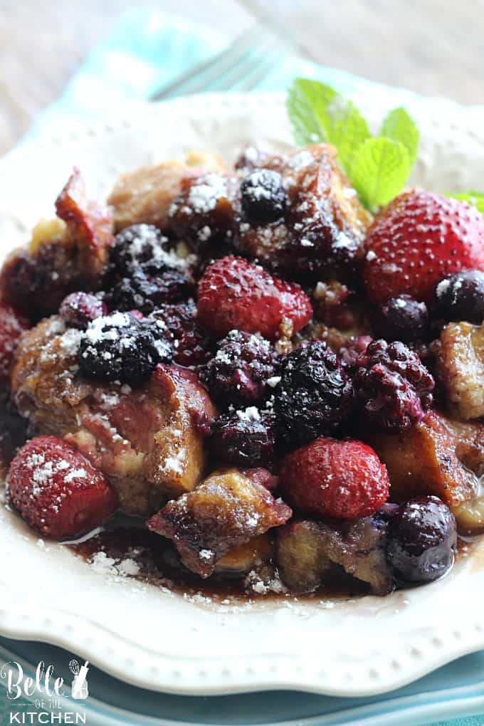 This Mixed Berry French Toast Casserole is perfect for a special breakfast or brunch! It's a total crowd pleaser and can even be made ahead of time for busy mornings!