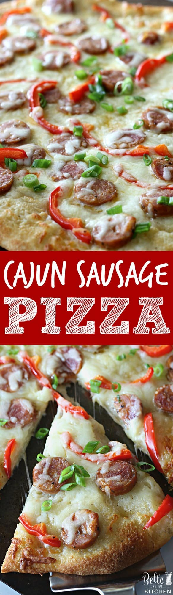 This Cajun Sausage Pizza starts with your favorite pizza dough, then gets piled with a creamy homemade sauce, andouille sausage, peppers, and gooey cheese.