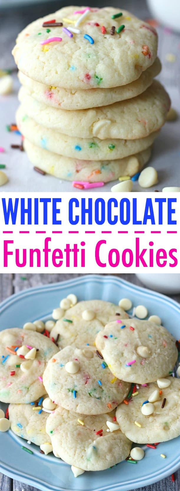 These White Chocolate Funfetti Cookies are made with just FOUR ingredients and they are completely addicting!