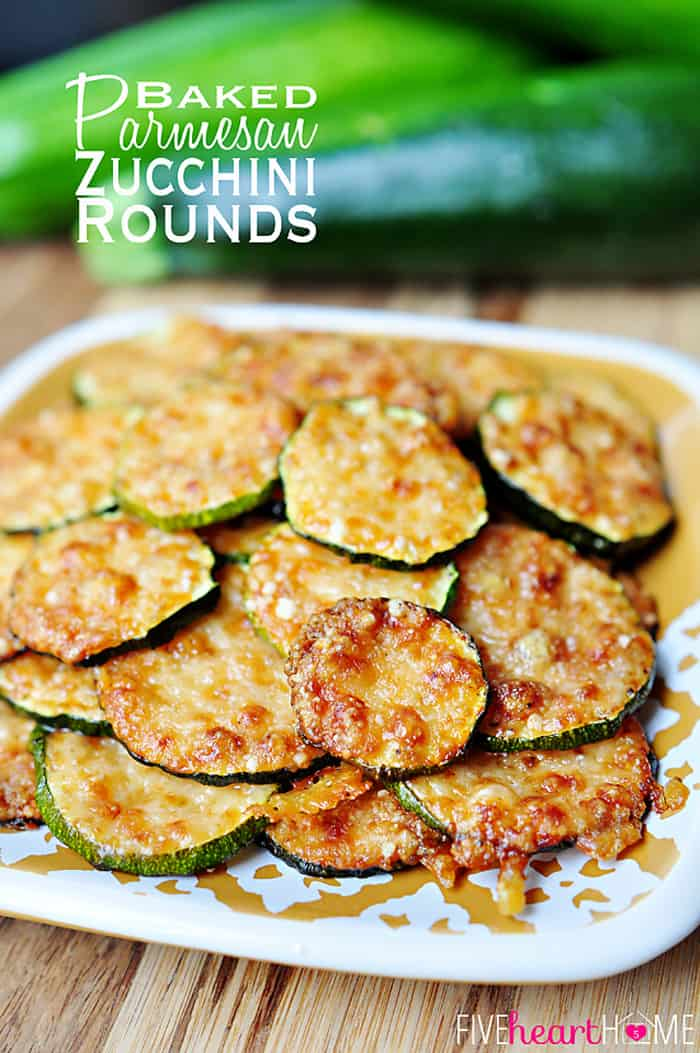 2-Ingredient Baked Parmesan Zucchini Rounds | FiveHeartHome.com