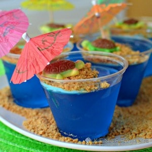 Blue Raspberry Jello Cups for Kids: Tropical Turtle Beach on Kenarry.com
