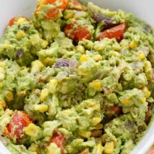 A bowl of Guacamole and Bacon