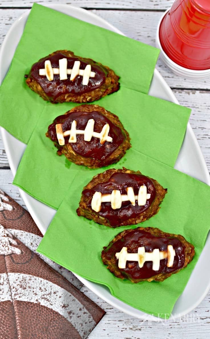 Love this barbecue football mini meatloaf idea! This recipe sounds like a delicious appetizer, snack or main dish for tailgating, a game day get together or a Super Bowl party!