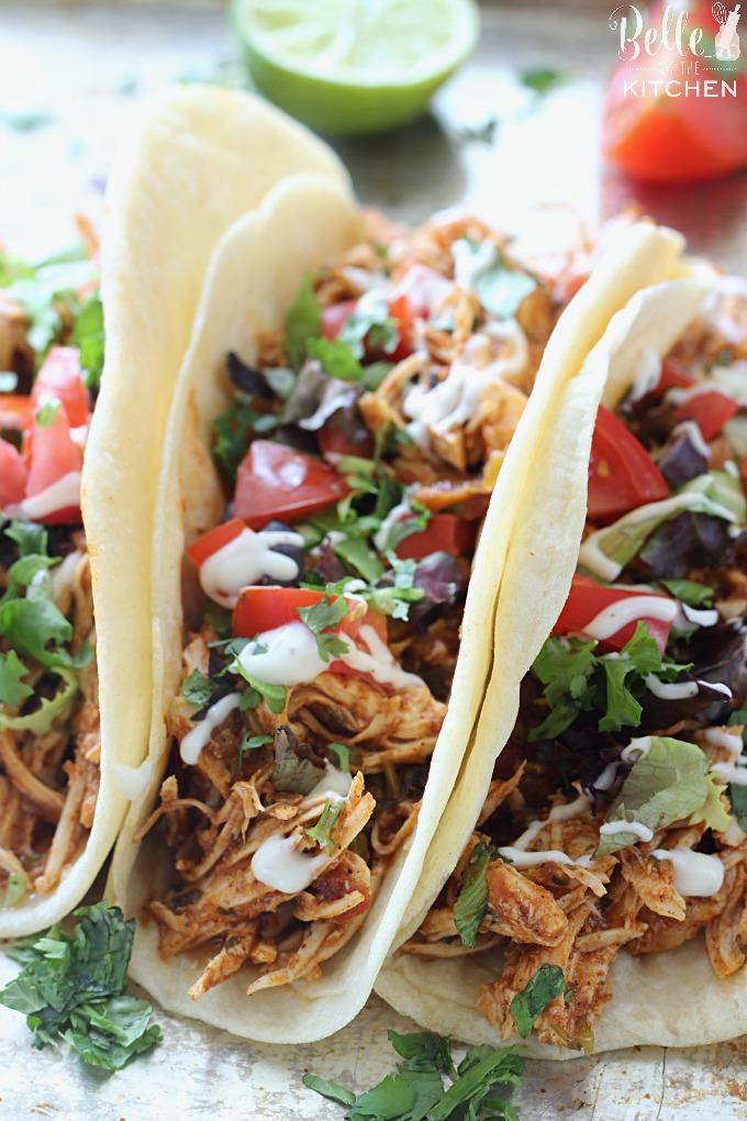 Food 1 2016 4 5 Chicken Tacos >> Slow Cooker Cilantro Lime Chicken Tacos Belle Of The Kitchen