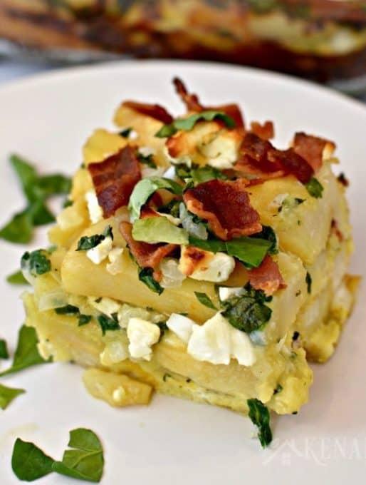 Bacon, Spinach, and Feta Breakfast Casserole