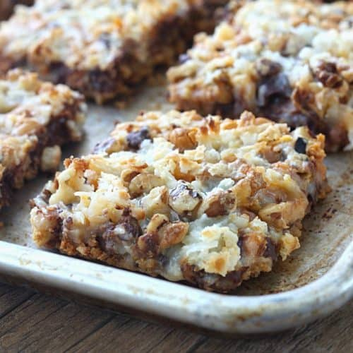 These Seven Layer Magic Bars are always a huge hit when I take them to parties! They literally disappear every time!