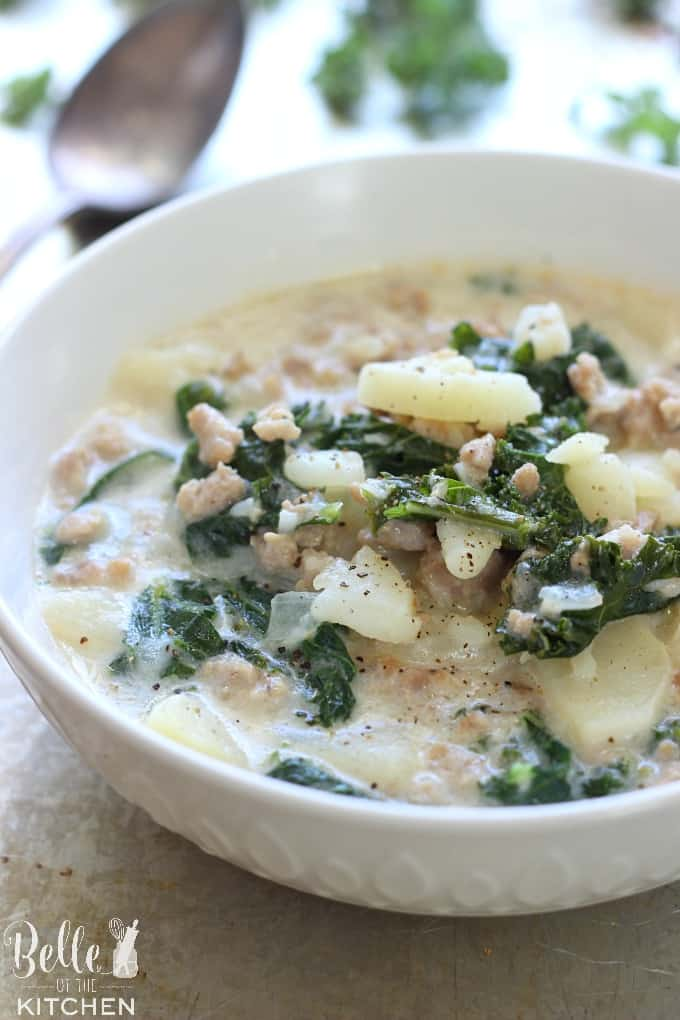 This Creamy Zuppa Toscana is full of sausage, potatoes, and kale, all swimming together in a creamy broth. It makes an easy, hearty, and delicious dinner!