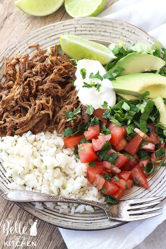 These Chipotle Pork Carnitas Burrito bowls are SO flavorful! I love being able to make the pork in the crockpot, too.