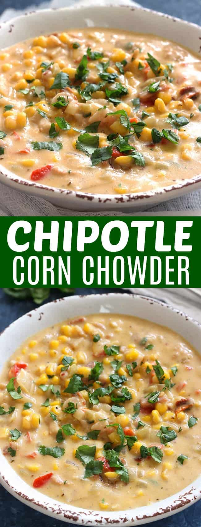 A bowl chipotle corn chowder with cilantro on top