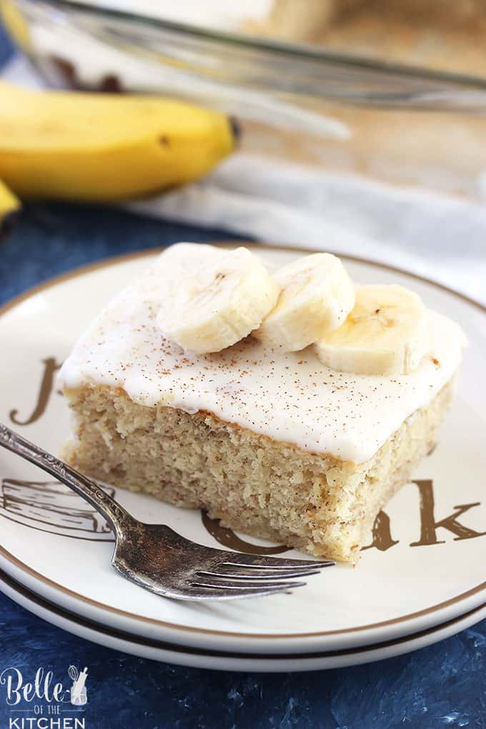 A slice of cake on a plate, with Banana cake