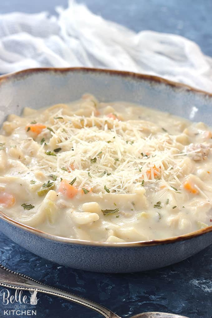 This Instant Pot Creamy Chicken Noodle Soup is easy to prepare and tastes like you slaved over it all day! It's comforting, delicious, and comes together quickly, (and in one pot!) thanks to your pressure cooker.