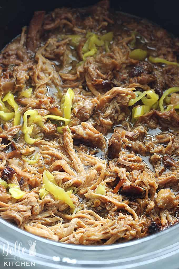 A dish is filled with shredded pork and peppers