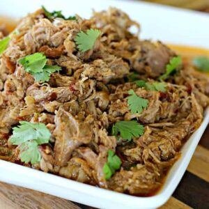 A dish is filled with shredded pork, topped with cilantro
