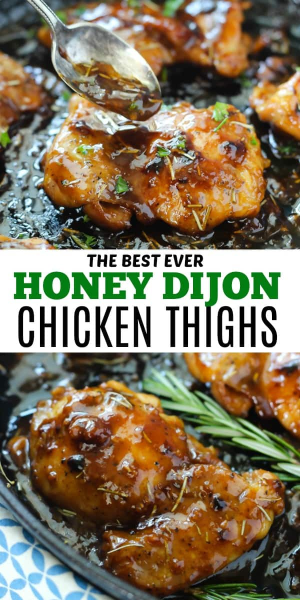 Honey Dijon Chicken Thighs make an amazing dinner that you'll want over and over again! So juicy and flavorful, and made with a sauce you'll want to drink!