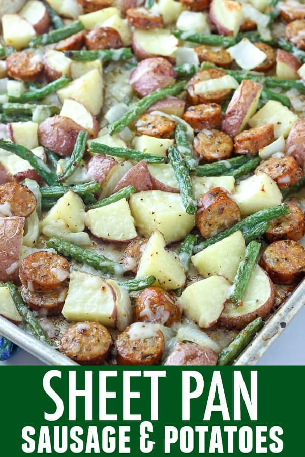 All you need is a sheet pan and a few simple ingredients to make Italian Sausage and Potatoes Bake! It's delicious, easy, and perfect for busy nights.