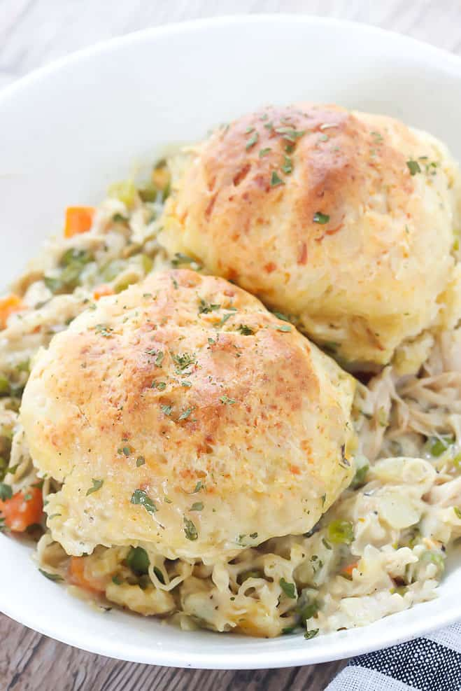 Comfort food is the name of the game when it comes to this Chicken and Biscuits Cobbler, combining two southern favorites into one!