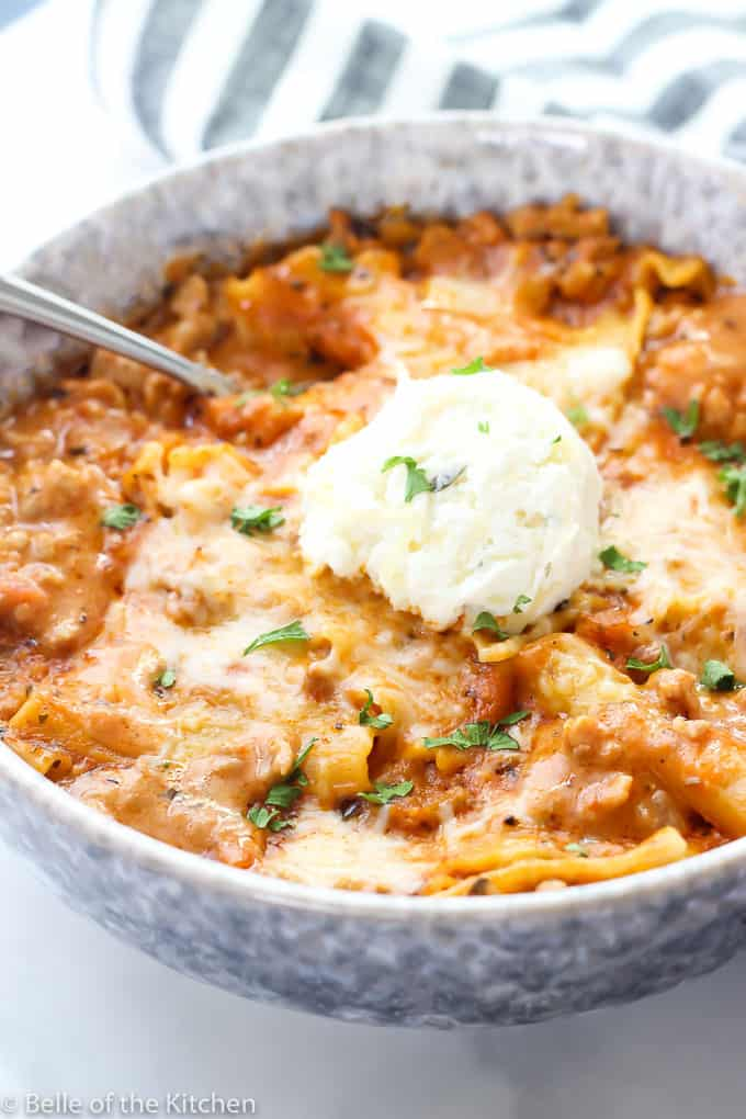 Instant Pot Lasagna Soup - everything you love about lasagna, in a warm, comforting bowl of soup! This is so easy to make thanks to the Instant Pot, and is a huge favorite in our family!