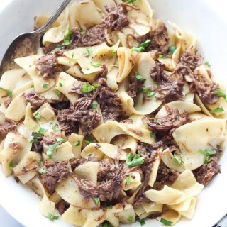 These Beef and Noodles are made with incredibly delicious leftover Mississippi Pot Roast and are so quick and easy to make. This is my family's favorite way to use up the best pot roast ever!
