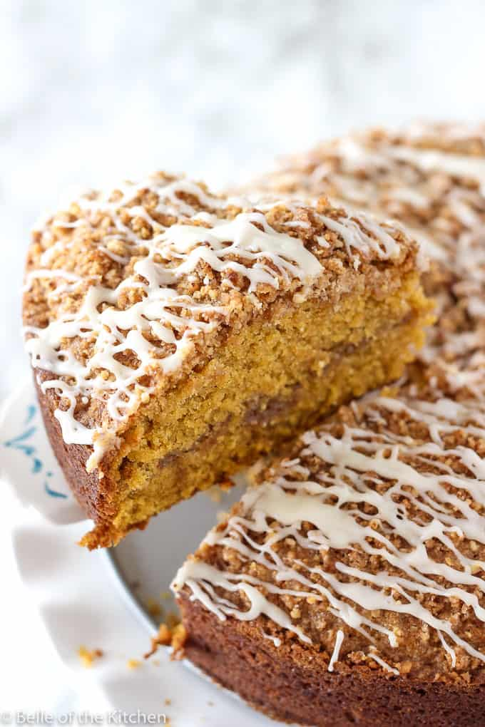 A Pumpkin Spice Coffee Cake with a slice taken out