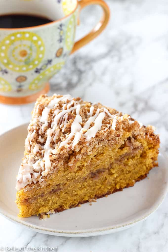 A piece of Pumpkin Coffee cake on a plate