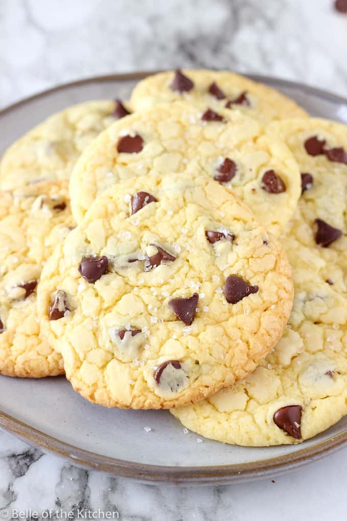 A close up of chocolate chip cookies on a plate