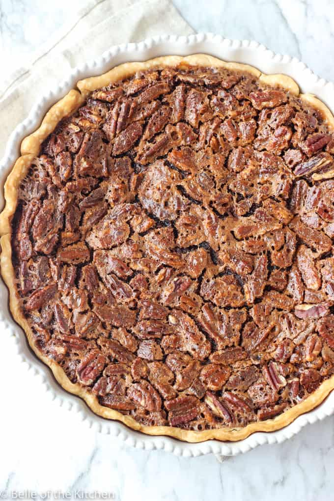 A close up of Pecan pie with chocolate