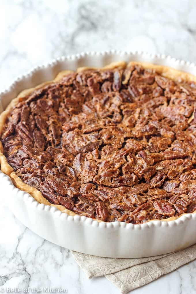 A close up of food chocolate pecan pie