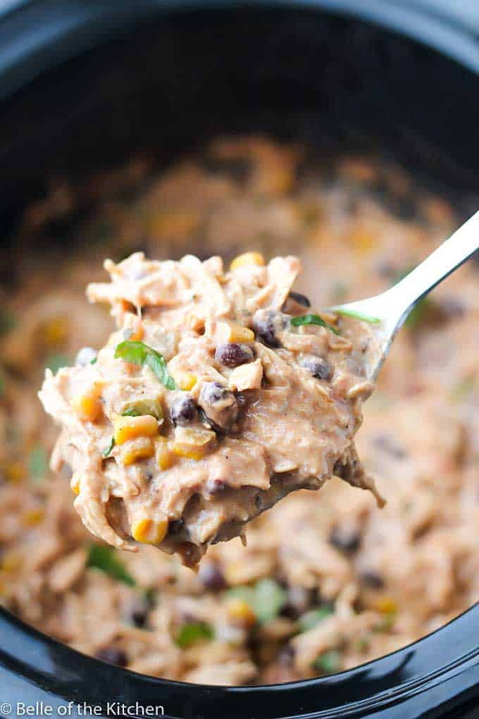 large spoonful of cream cheese chicken chili
