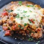 black plate with zucchini lasagna