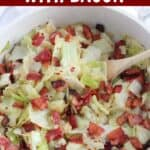 bacon, yellow onion, red pepper flakes, minced garlic, and chopped cabbage