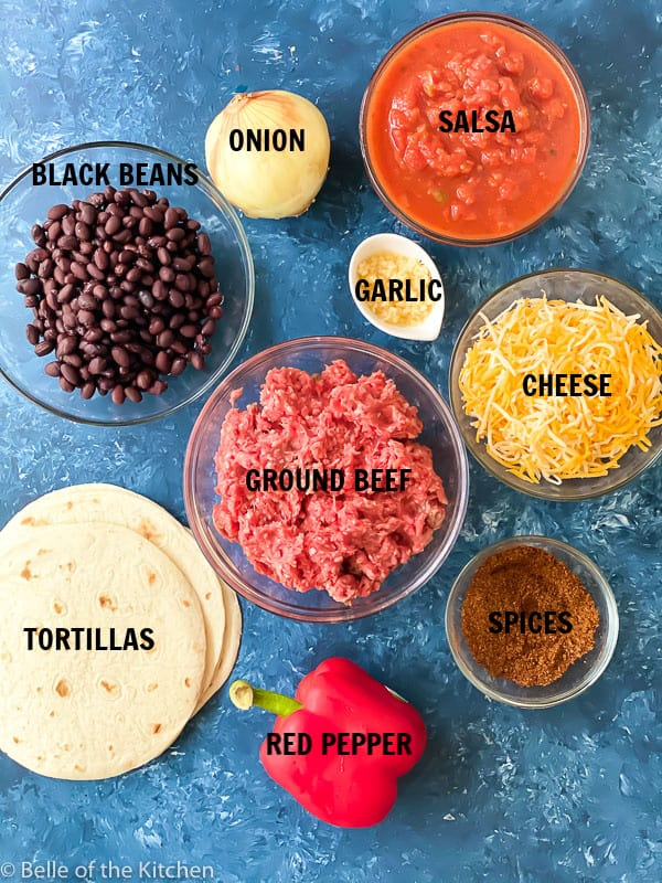 ingredients laid out to make beef enchiladas