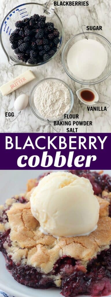ingredients laid out on a marble backdrop; blackberries, sugar, flour, butter, egg, and vanilla